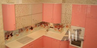 Современная кухня, розовая